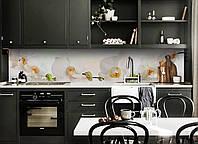 Скинали на кухню Zatarga «Белая орхидея 03» 600х2500 мм виниловая 3Д наклейка кухонный фартук самоклеящаяся, фото 1