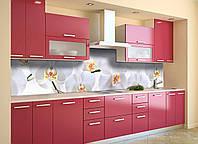 Скинали на кухню Zatarga «Нежные белые Орхидеи» 650х2500 мм виниловая 3Д наклейка кухонный фартук, фото 1
