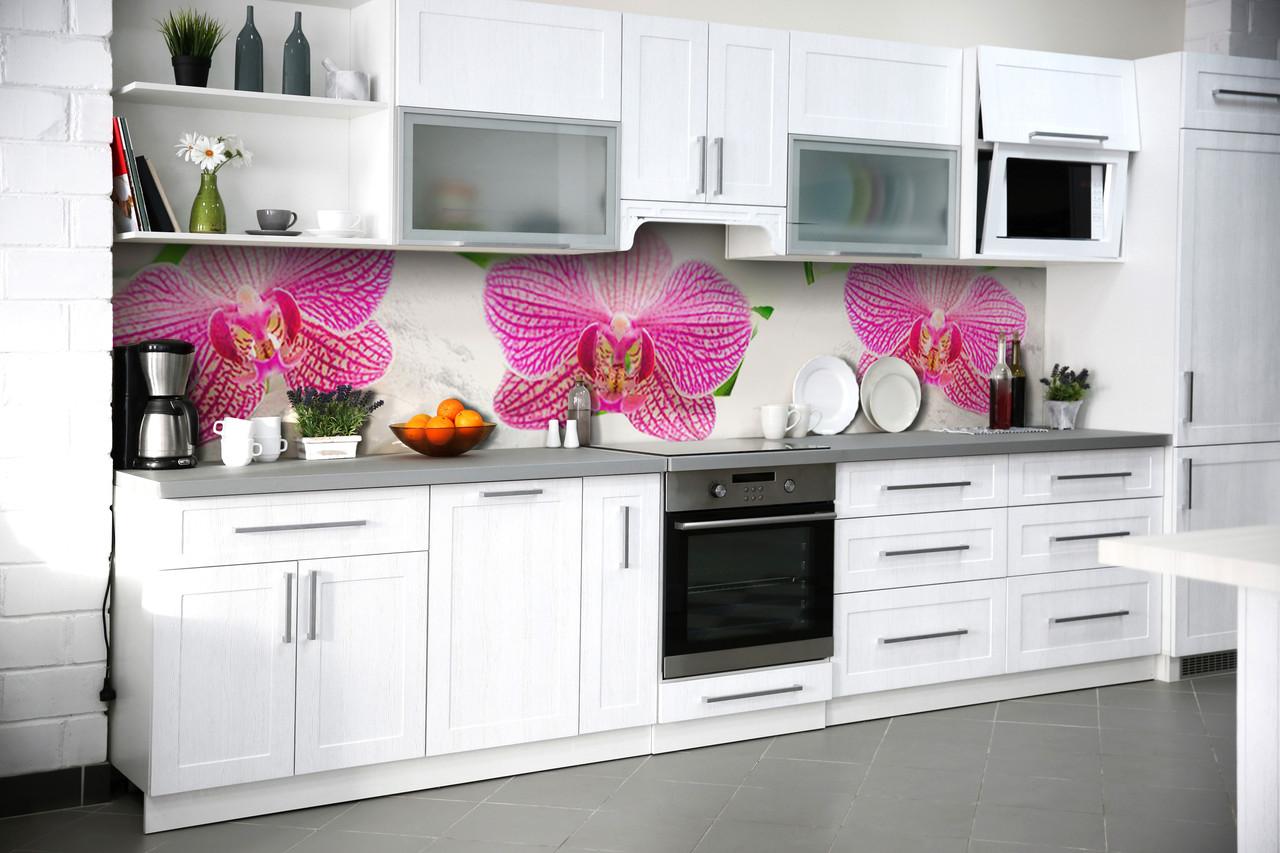 Скинали на кухню Zatarga «Деликатные Орхидеи» 600х3000 мм виниловая 3Д наклейка кухонный фартук самоклеящаяся