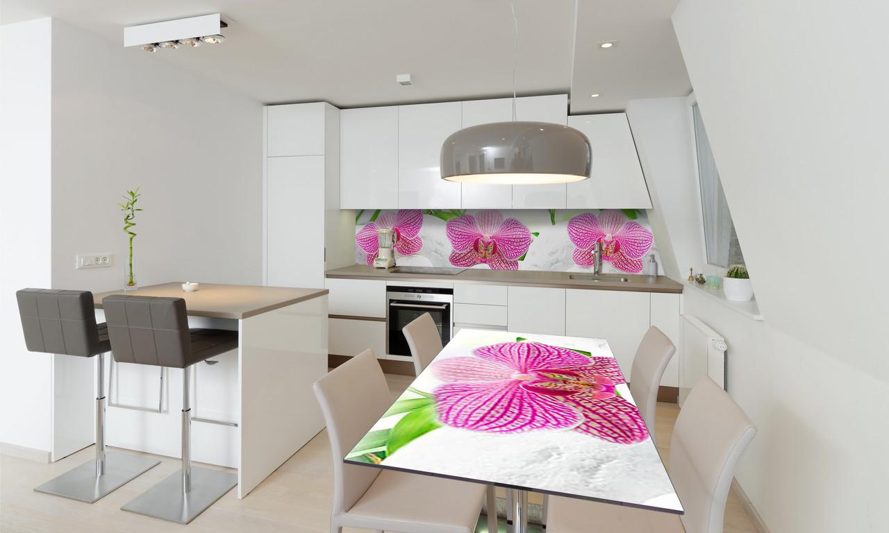 Наклейка 3Д виниловая на стол Zatarga «Деликатные Орхидеи» 650х1200 мм для домов, квартир, столов,