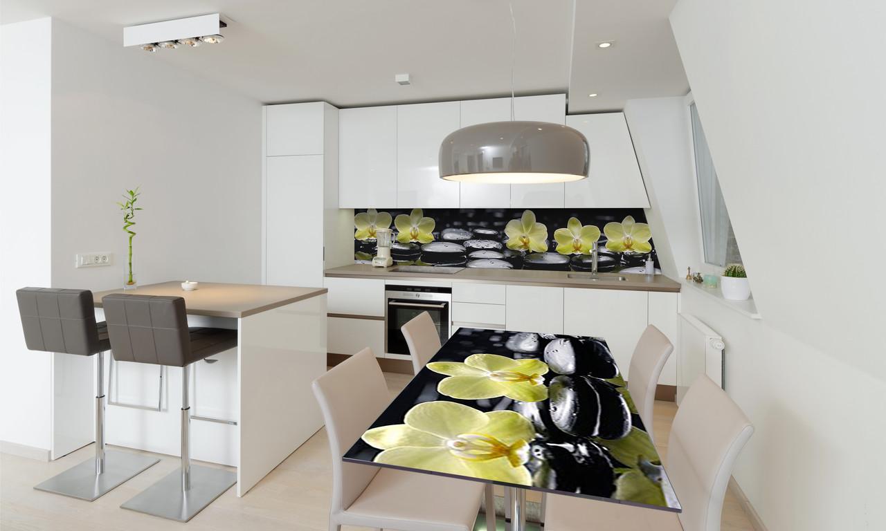Наклейка 3Д виниловая на стол Zatarga «Лимонные Орхидеи» 650х1200 мм для домов, квартир, столов,
