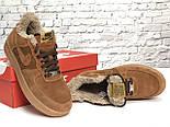 Зимние мужские кроссовки с мехом Nike Air Force 1 Low рыжие теплые замш. Фото в живую. Топ реплика, фото 4