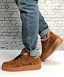 Зимние мужские кроссовки с мехом Nike Air Force 1 Low рыжие теплые замш. Фото в живую. Топ реплика, фото 8