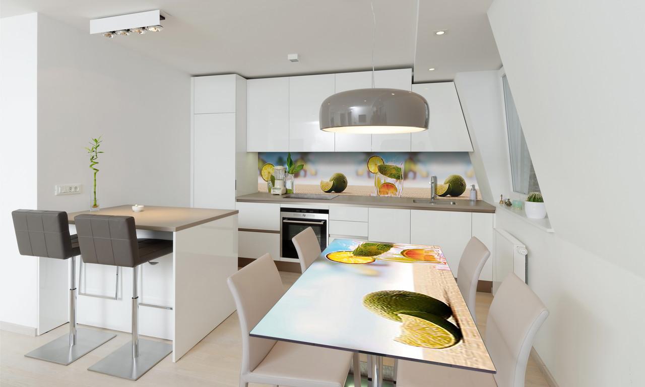 Наклейка 3Д виниловая на стол Zatarga «Коктейль» 600х1200 мм для домов, квартир, столов, кофейн, кафе