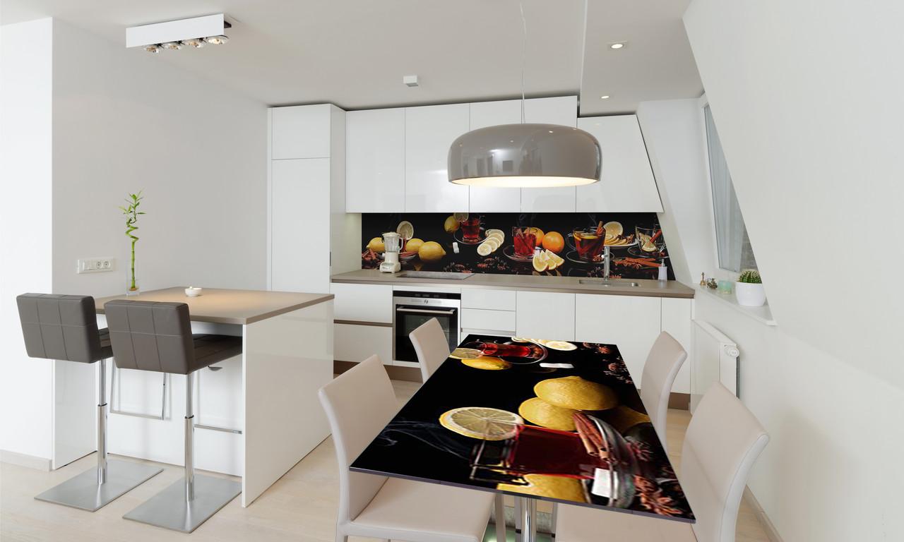 Наклейка 3Д виниловая на стол Zatarga «Чай со Специями» 650х1200 мм для домов, квартир, столов, кофейн,