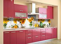 Скинали на кухню Zatarga «Желтые Подсолнухи» 600х2500 мм виниловая 3Д наклейка кухонный фартук самоклеящаяся