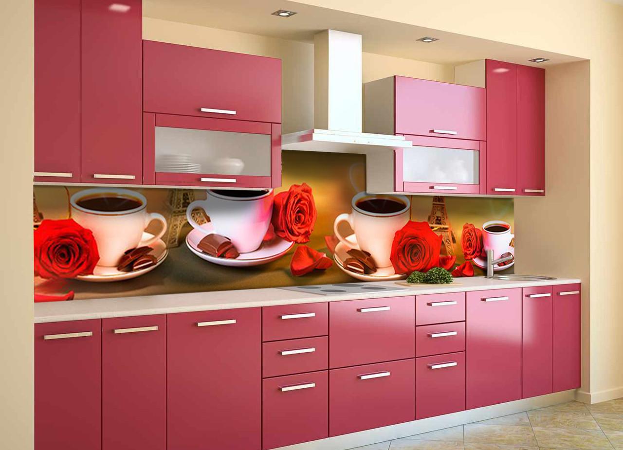 Скинали на кухню Zatarga «Страстный Париж» 600х3000 мм виниловая 3Д наклейка кухонный фартук самоклеящаяся