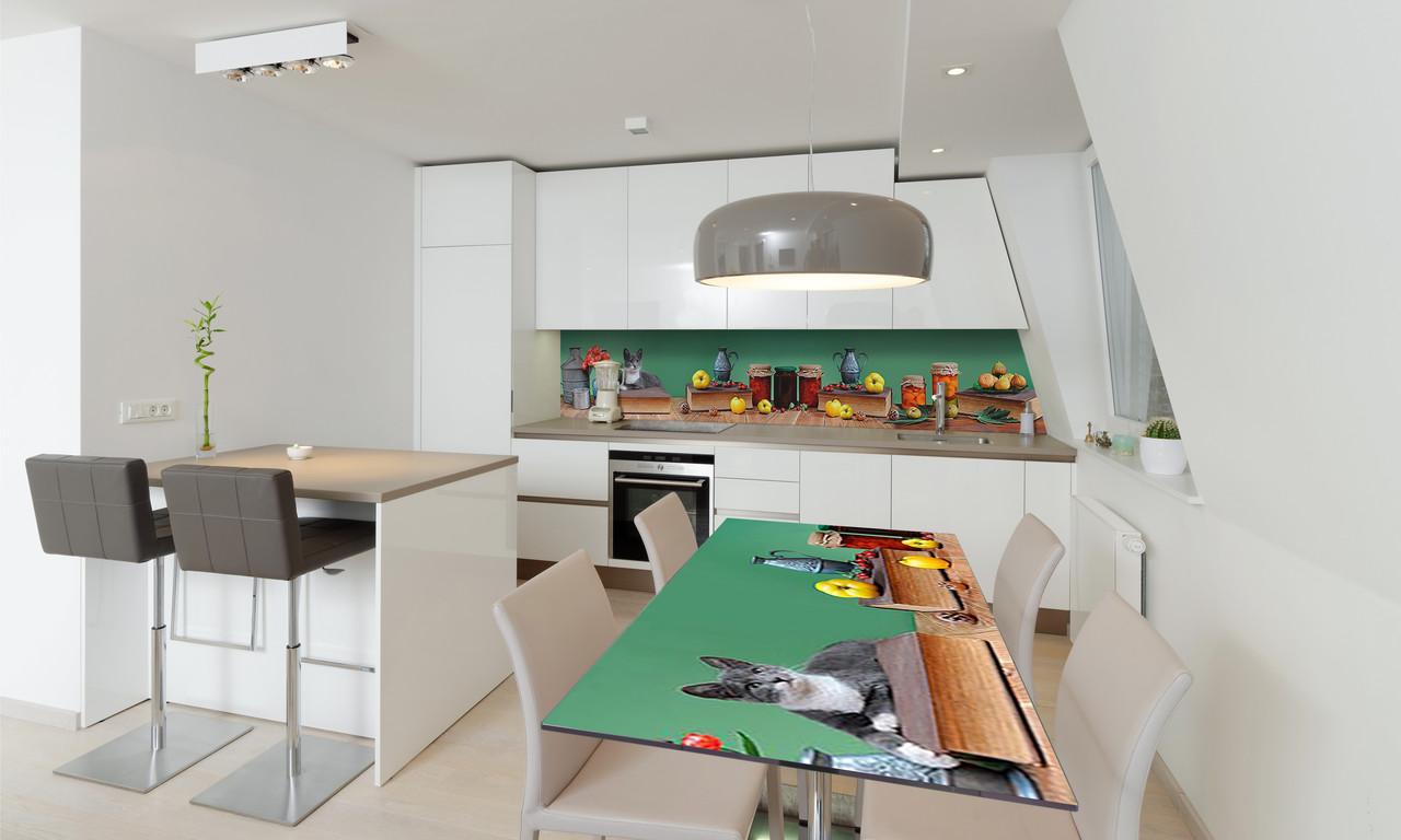 Наклейка 3Д виниловая на стол Zatarga «Варенье» 650х1200 мм для домов, квартир, столов, кофейн, кафе