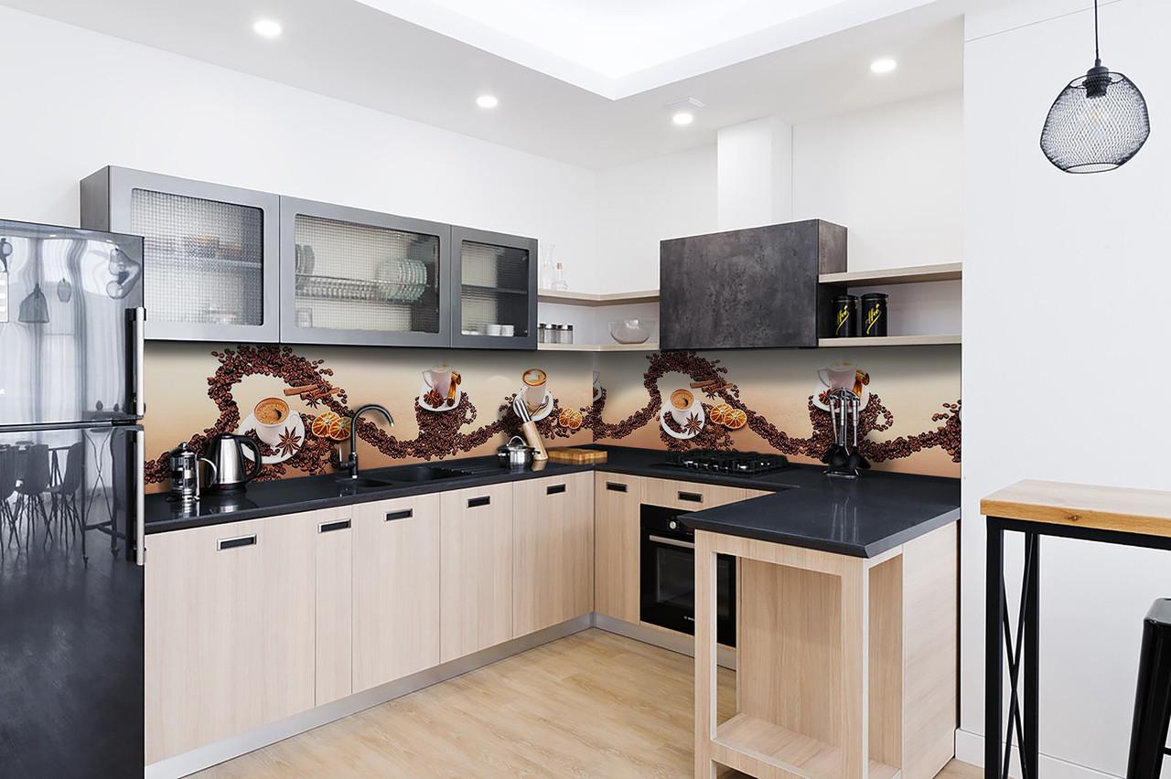 Скинали на кухню Zatarga «Зерна кофе» 650х2500 мм виниловая 3Д наклейка кухонный фартук самоклеящаяся для