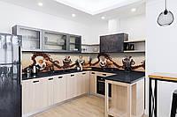 Скинали на кухню Zatarga «Зерна кофе» 650х2500 мм виниловая 3Д наклейка кухонный фартук самоклеящаяся для, фото 1