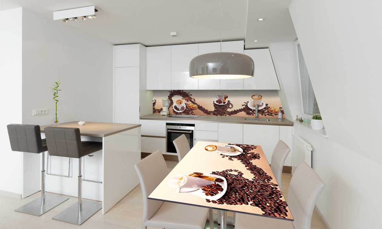 Наклейка 3Д виниловая на стол Zatarga «Зерна кофе» 650х1200 мм для домов, квартир, столов, кофейн, кафе