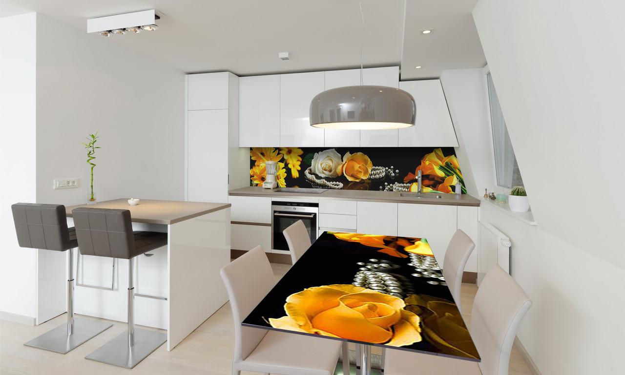 Наклейка 3Д виниловая на стол Zatarga «Желтые Каллы» 600х1200 мм для домов, квартир, столов, кофейн,