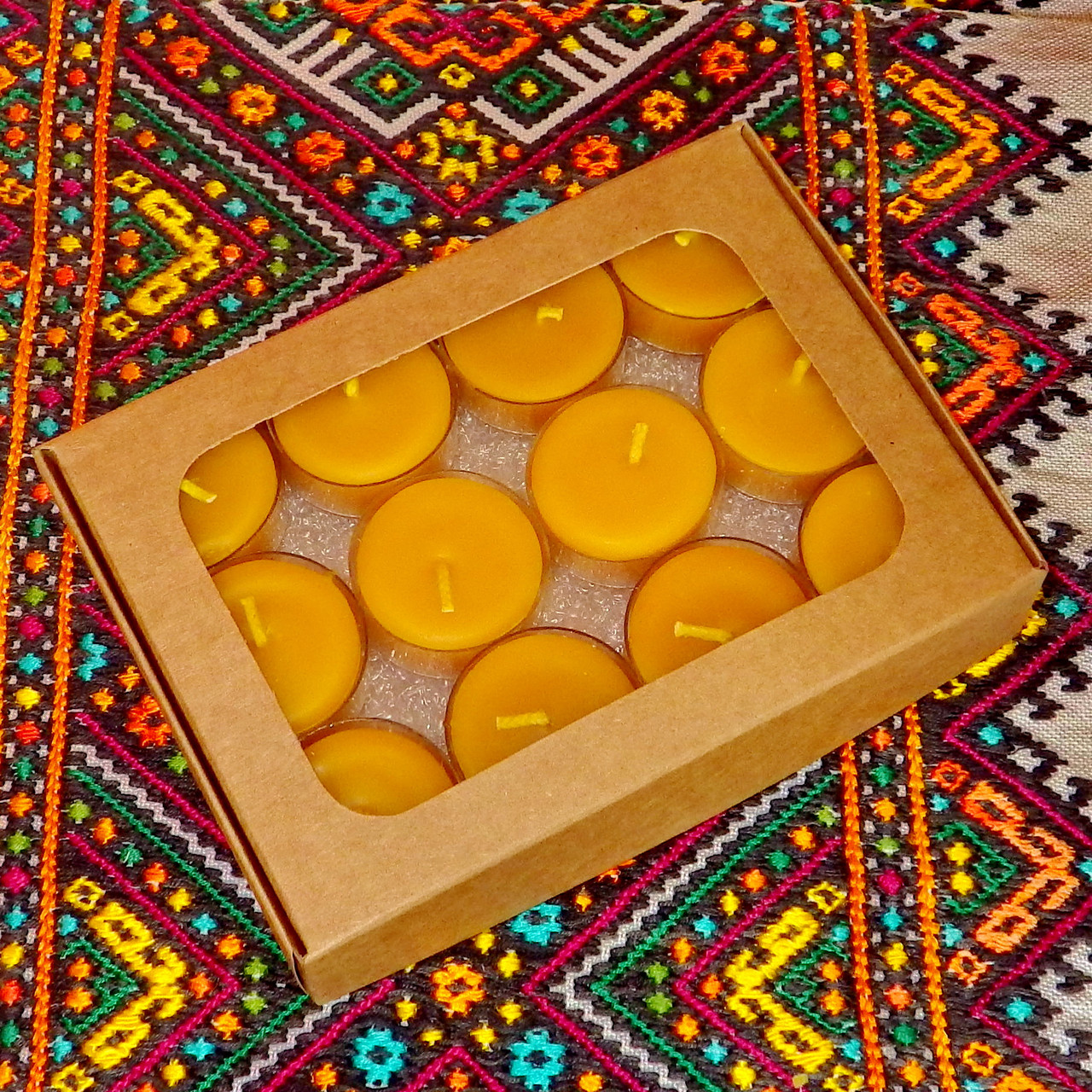 Подарочный набор круглых чайных восковых свечей 15г (12шт.)