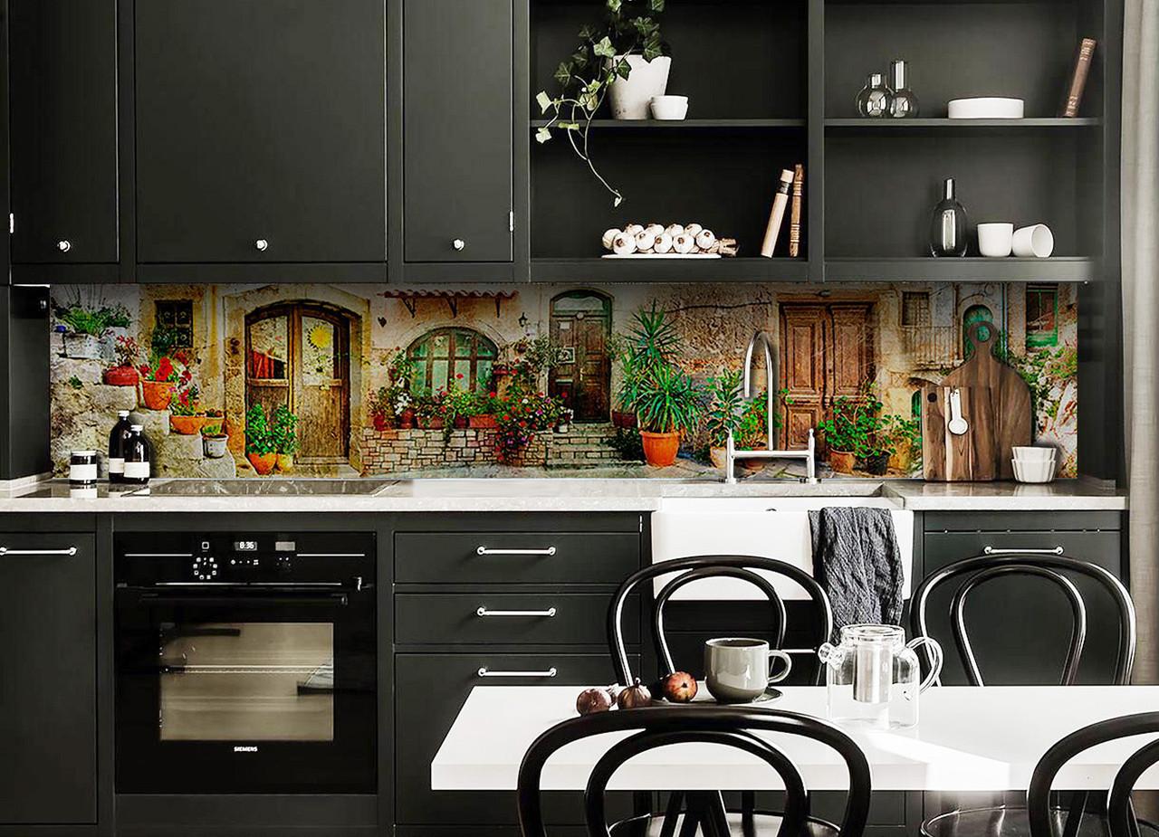 Скинали на кухню Zatarga «Горшки с Цветами» 650х2500 мм виниловая 3Д наклейка кухонный фартук самоклеящаяся