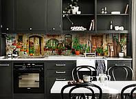 Скинали на кухню Zatarga «Горшки с Цветами» 650х2500 мм виниловая 3Д наклейка кухонный фартук самоклеящаяся, фото 1