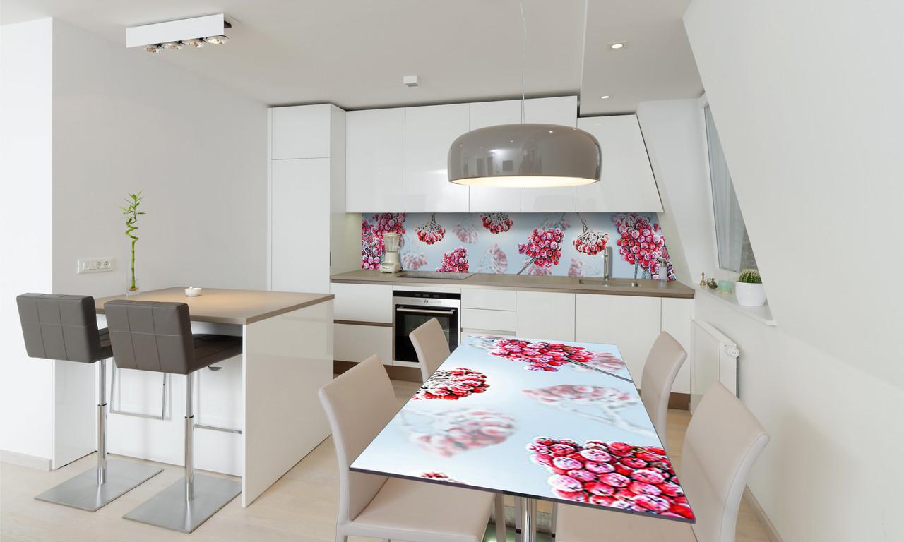 Наклейка 3Д виниловая на стол Zatarga «виниловый Морозная Калина» 650х1200 мм для домов, квартир, столов,