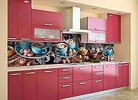 Скинали на кухню Zatarga «Зефир Голубые чашки» 600х3000 мм виниловая 3Д наклейка кухонный фартук самоклеящаяся, фото 1