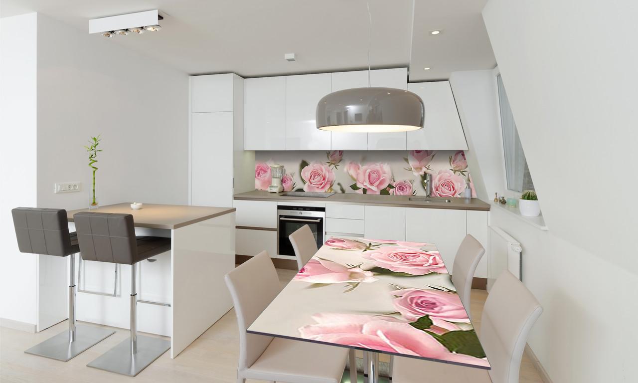 Наклейка 3Д виниловая на стол Zatarga «самоклеющийся Бутоны Розовые Розы» 600х1200 мм для домов, квартир,