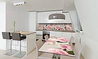 Наклейка 3Д виниловая на стол Zatarga «самоклеющийся Бутоны Розовые Розы» 600х1200 мм для домов, квартир,, фото 1