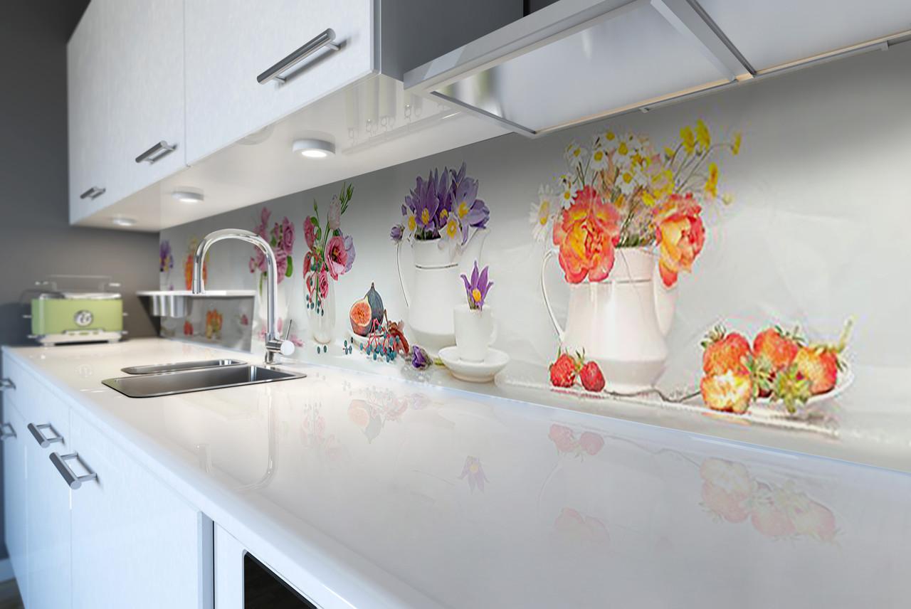 Скинали на кухню Zatarga «Цветочные букеты» 650х2500 мм виниловая 3Д наклейка кухонный фартук самоклеящаяся