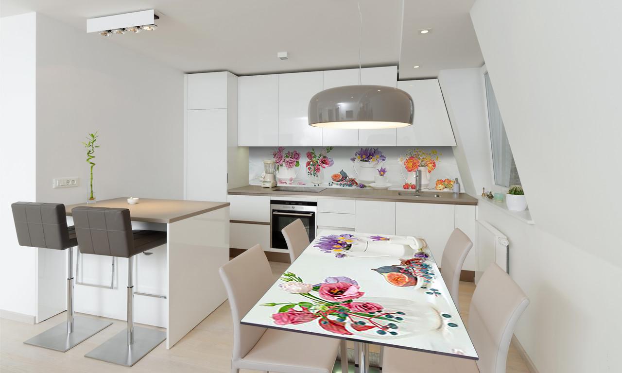 Наклейка 3Д виниловая на стол Zatarga «самоклеющийся Цветочные букеты» 600х1200 мм для домов, квартир, столов,