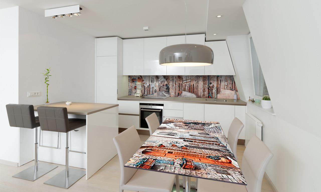 Наклейка 3Д виниловая на стол Zatarga «самоклеющийся Кирпичные стены Города» 600х1200 мм для домов, квартир,