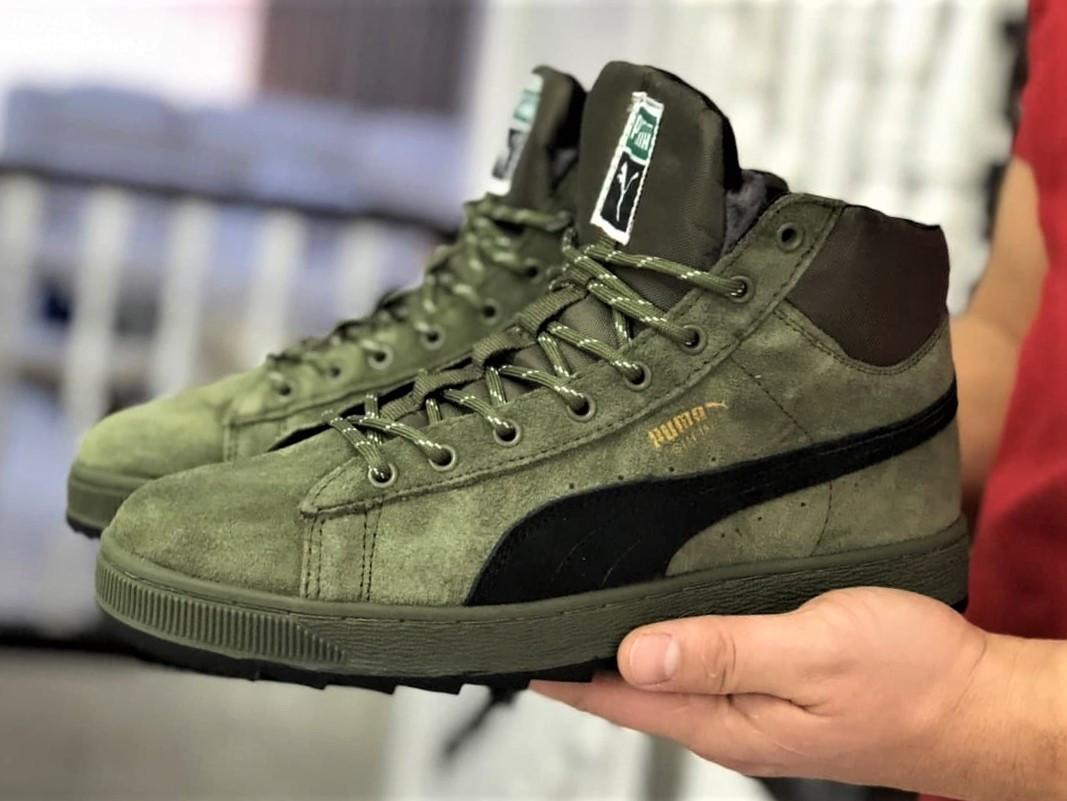 Мужские замшевые зимние кроссовки на меху PUMA Suede темно-зеленые