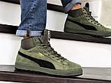 Мужские замшевые зимние кроссовки на меху PUMA Suede темно-зеленые, фото 2