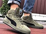 Мужские замшевые зимние кроссовки на меху PUMA Suede темно-зеленые, фото 4