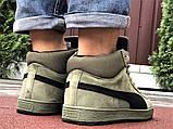 Мужские замшевые зимние кроссовки на меху PUMA Suede темно-зеленые, фото 6
