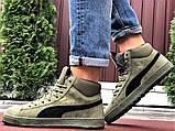 Мужские замшевые зимние кроссовки на меху PUMA Suede темно-зеленые, фото 5