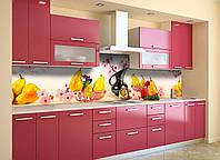 Скинали на кухню Zatarga «Сакура и Груши» 600х3000 мм виниловая 3Д наклейка кухонный фартук самоклеящаяся, фото 1