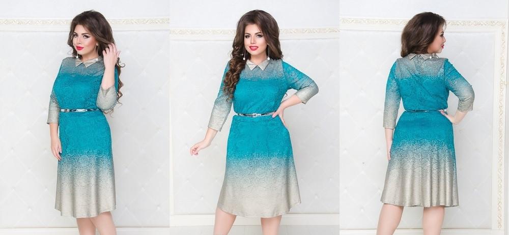 Гипюровое платье большого размера №248 (бирюза) размеры 50, 52, 54, 56