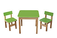 ЭКО набор стол+2 стульчика ТМ Финекс, салатовый