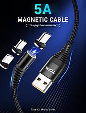 Магнитный кабель синхронизации Topk 3в1 1m 5A 360° Черный (TK08-3-VER2-BL), фото 3