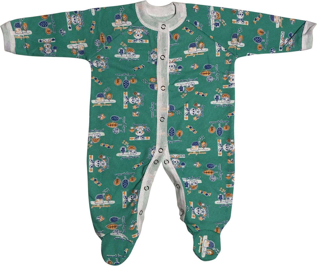 Тёплый человечек слип с начёсом для новорожденных рост 56 0-2 мес на мальчика девочку хлопковый футер зелёный