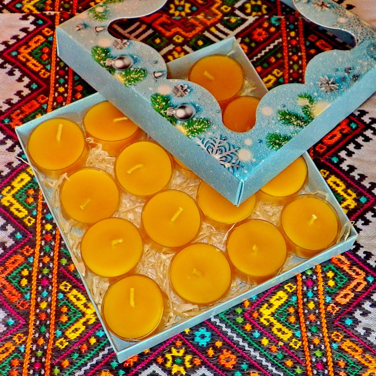 Подарочный набор круглых чайных восковых свечей 15г (16шт.)