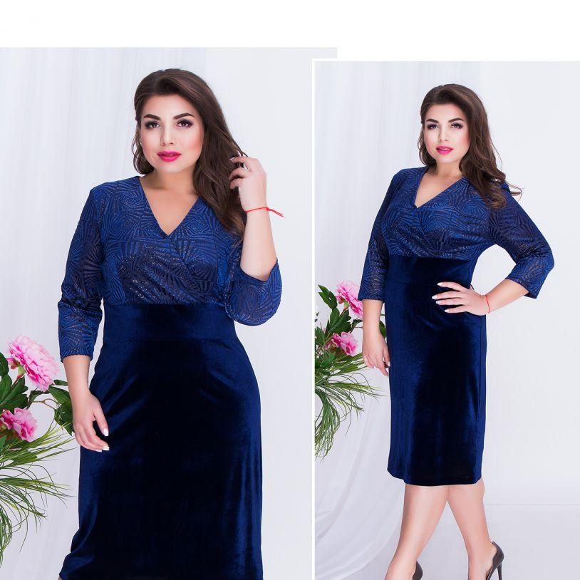 Синее бархатное платье большого размера №00260-синий Размеры 52,54,56,