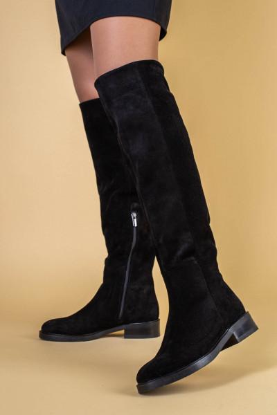 Ботфорты женские замшевые черные на низком ходу, зимние