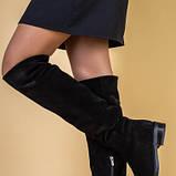 Ботфорты женские замшевые черные на низком ходу, зимние, фото 2