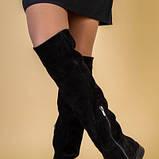 Ботфорты женские замшевые черные на низком ходу, зимние, фото 3