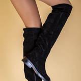 Ботфорты женские замшевые черные на низком ходу, зимние, фото 4