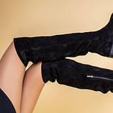 Ботфорты женские замшевые черные на низком ходу, зимние, фото 7