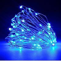 Гирлянда новогодняя с солнечной панелью Xmas 10 м светодиодная led на медной проволке Синий