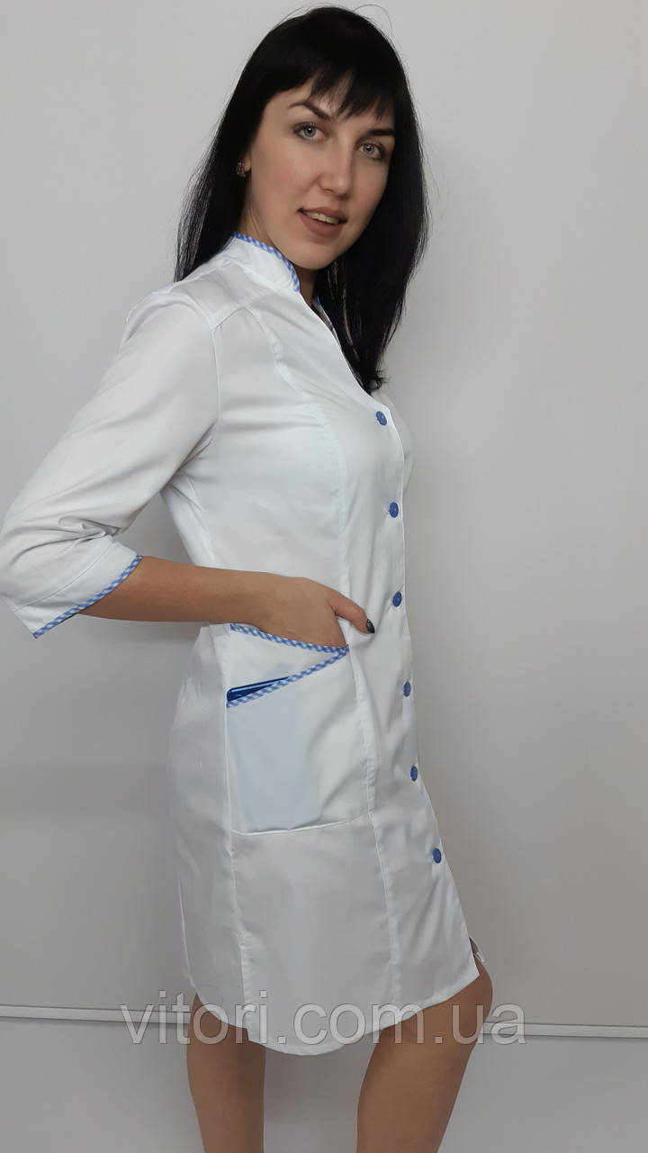 Женский медицинский халат Тая коттон три четверти рукав