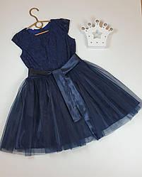 Платье для девочки с гипюром и фатином   на рост 134, 140, 146 темно-синий