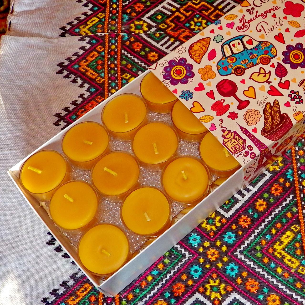 Подарочный набор круглых чайных восковых свечей 15г (24шт.)