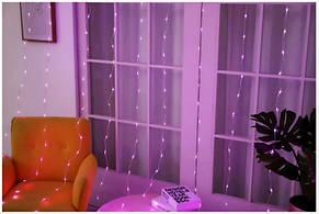 Светодиодная гирлянда LTL штора занавес curtain 3x3 метра 300 led 220v Фиолетовый, фото 2
