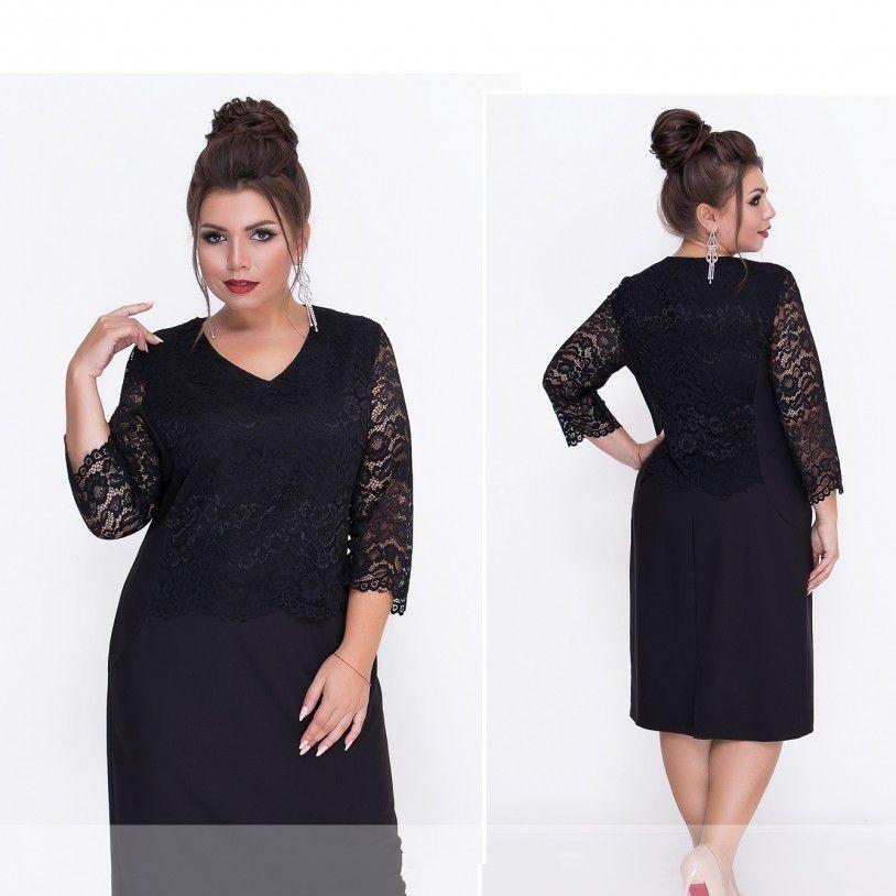 Чорне ошатне плаття великого розміру №314-чорний Розміри 52,54,56,58,62