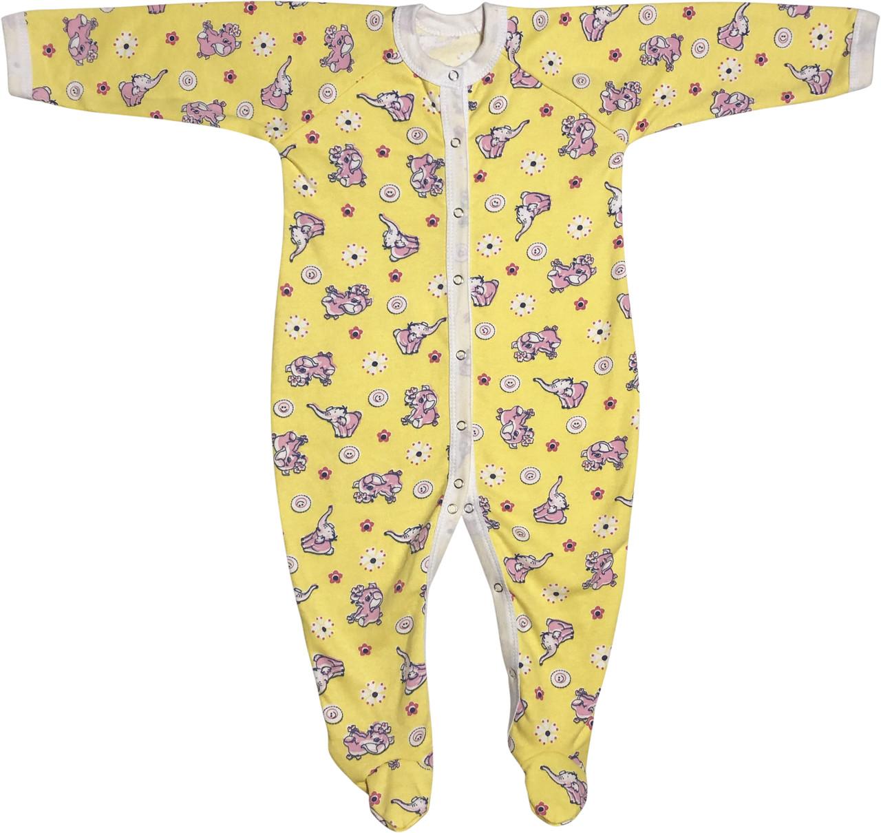 Теплий чоловічок з начосом для новонароджених ріст 86 1-1,5 року на хлопчика дівчинку сліп бавовняний жовтий